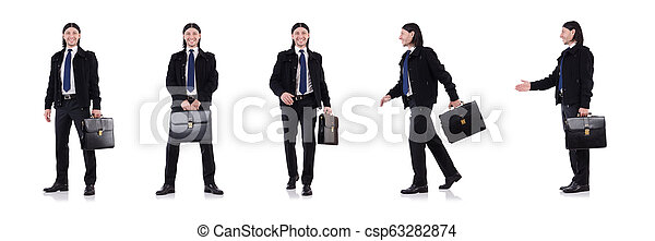Young businessman holding briefcase isolated on white - csp63282874