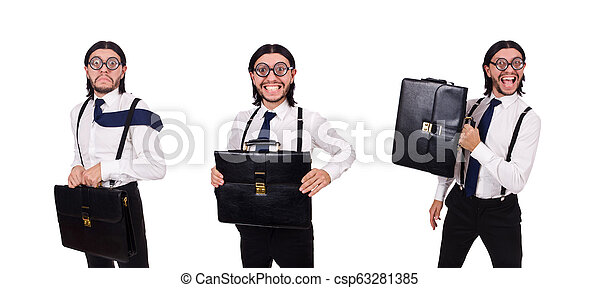 Young businessman holding briefcase isolated on white - csp63281385
