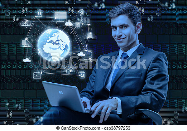 Young businessman in global computing concept - csp38797253