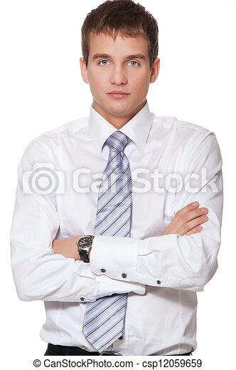 Young businessman isolated on white - csp12059659