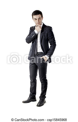 young businessman on white background - csp15845968