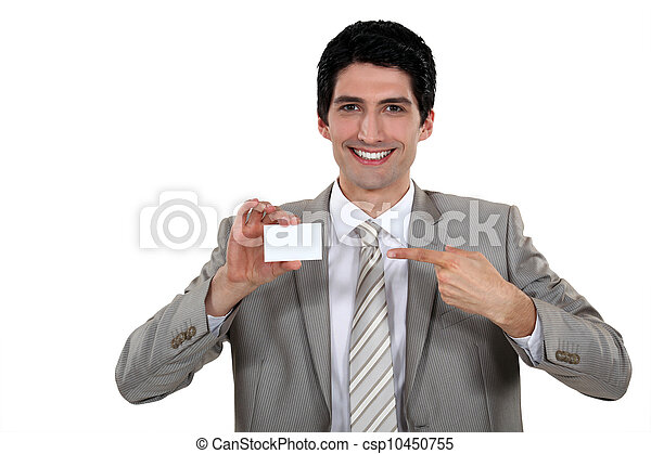 Young businessman pointing at card - csp10450755
