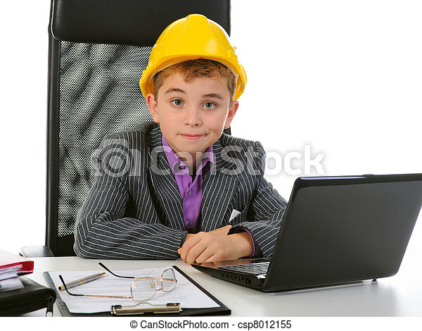 Young businessman using a laptop - csp8012155