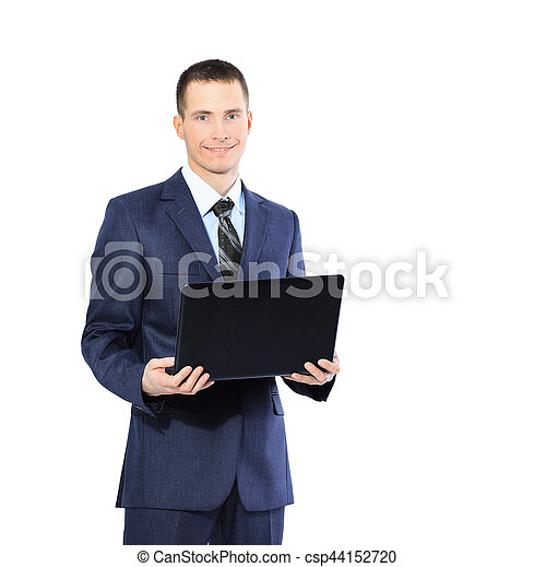 young businessman with a laptop on  white background - csp44152720