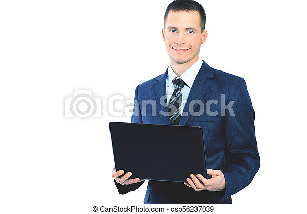 young businessman with a laptop on  white background - csp56237039
