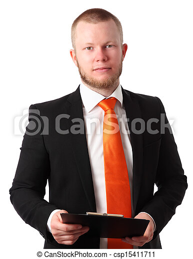 Young businessman with clipboard - csp15411711