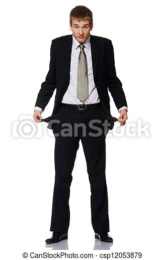 Young businessman with empty pockets - csp12053879