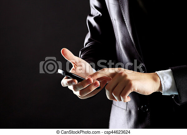 Young businessman working with modern devices, digital tablet - csp44623624