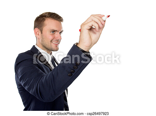 Young businessman writing on virtual screen - csp26497923