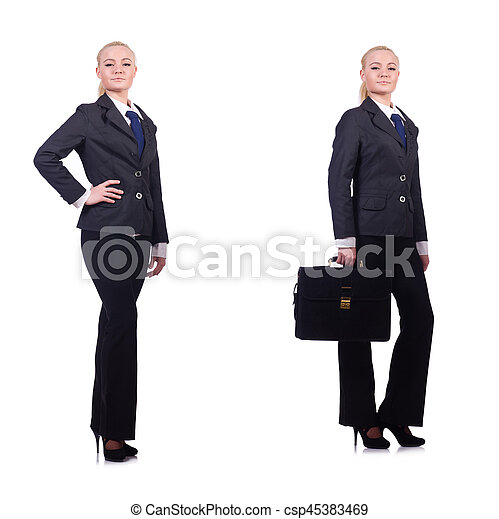 Young businesswoman isolated on white - csp45383469