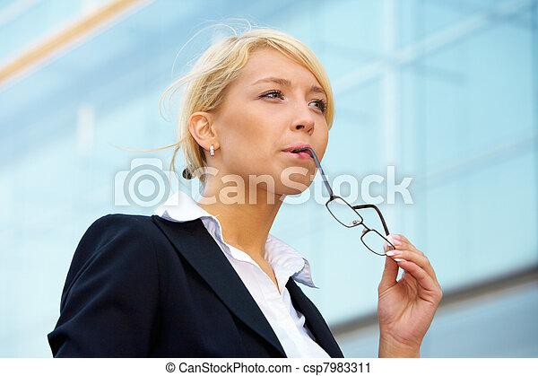 Young Businesswoman Pondering - csp7983311