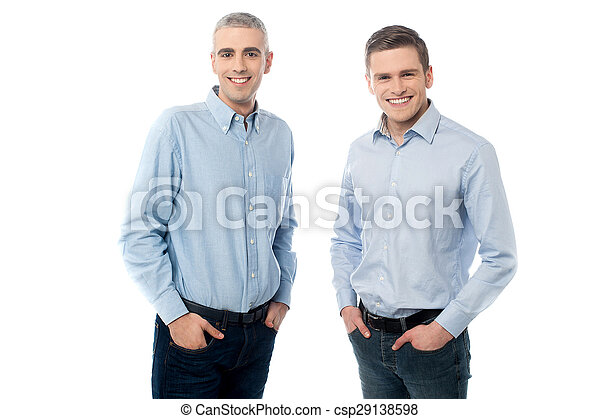 Young casual men posing in style