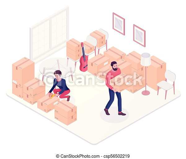 Young caucasian couple moving to a new house. - csp56502219