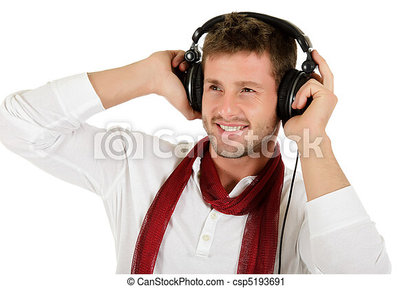 Young caucasian man, music listening - csp5193691
