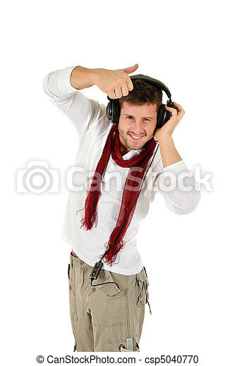 Young caucasian man, music listening - csp5040770