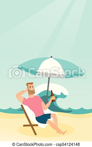Young caucasian man relaxing on a chaise-longue. - csp54124148