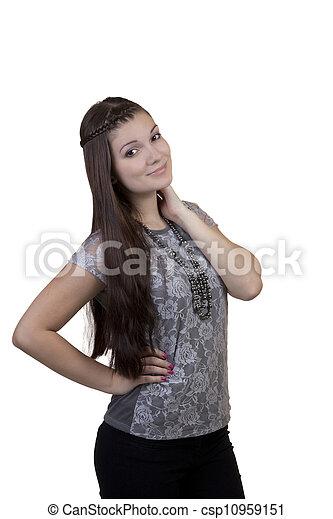 Young Caucasian Teen Girl Black Pants Standing - csp10959151