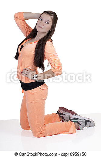 Young Caucasian Teen Girl Kneeling Exercise Outfit - csp10959150