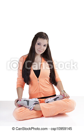 Young Caucasian Teen Girl Sitting Exercise Outfit - csp10959145