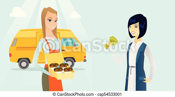 Young caucasian white baker selling cakes. - csp54533001