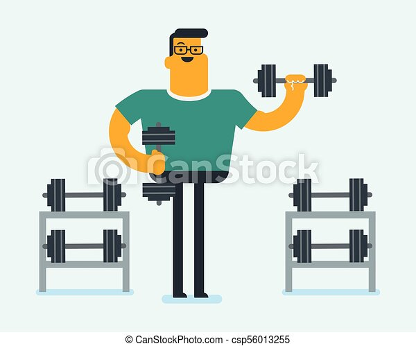 Young caucasian white sportsman lifting a dumbbell - csp56013255
