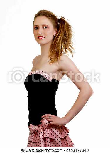 Young caucasian woman in black and pink dress - csp3177340