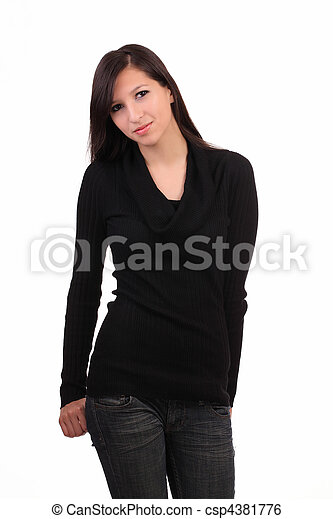 Young caucasian woman in jeans and sweater - csp4381776