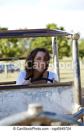 young caucasian woman outdoors playground smiling portrait - csp6949724