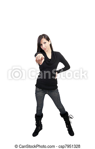 Young caucasian woman pointing jeans boots sweater - csp7951328