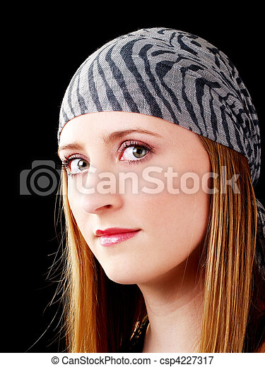 Young caucasian woman portrait with head scarf - csp4227317