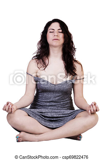 Young Caucasian Woman Sitting In Contemplation Gray Dress - csp69822476