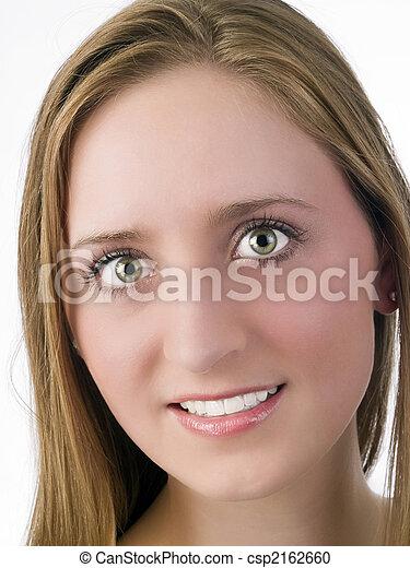 Young caucasian woman smiling portrait blond - csp2162660
