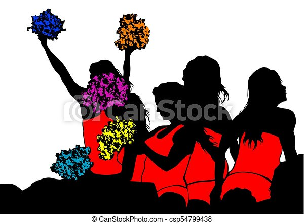 young cheerleaders three young cheerleaders on a white vectors rh canstockphoto com cheerleader clipart images cheerleader clipart images