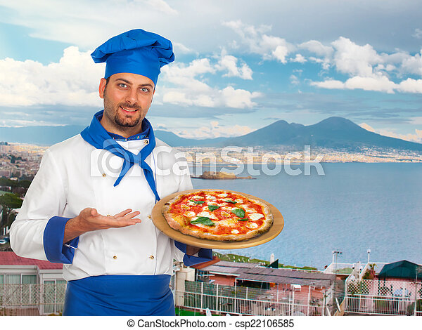 Young chef with neapolitan pizza margherita - csp22106585