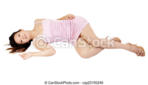 Young Chinese Woman Reclining Pink Dress Smiling - csp23150249