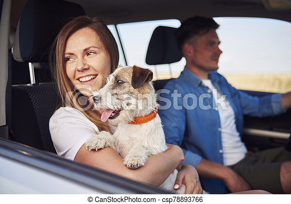Young couple and their dog traveling together in a car - csp78893766
