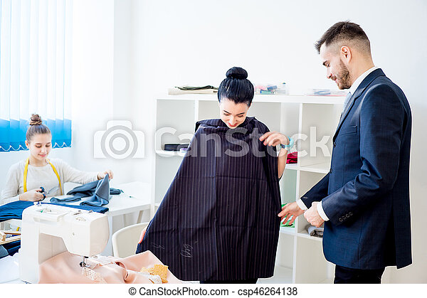 Young couple at tailor shop - csp46264138