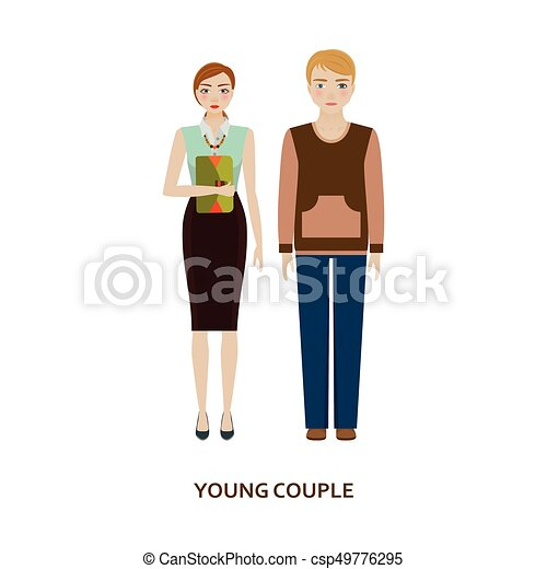 Young couple character. Family without children - csp49776295