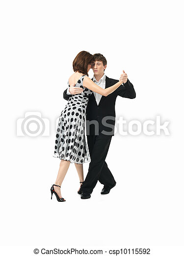 young couple dancing the tango, white background - csp10115592