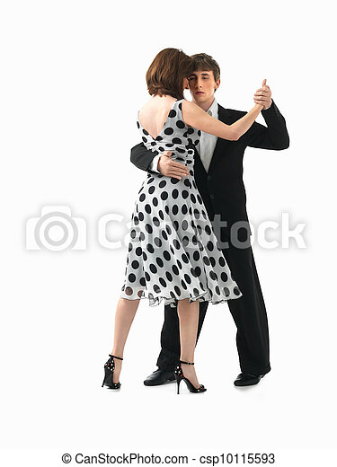young couple dancing the tango, white background - csp10115593