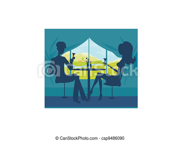 Young couple flirt  - csp9486090