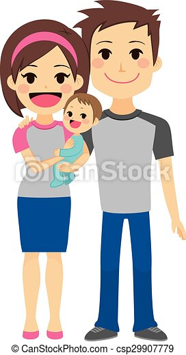Young Couple Holding Baby - csp29907779