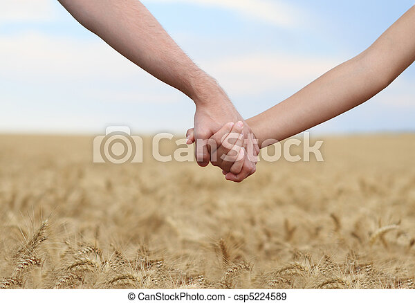 Young couple holding hands in the field - csp5224589