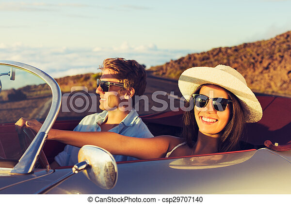 Young Couple in Classic Vintage Sports Car - csp29707140