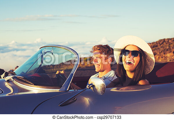 Young Couple in Classic Vintage Sports Car - csp29707133