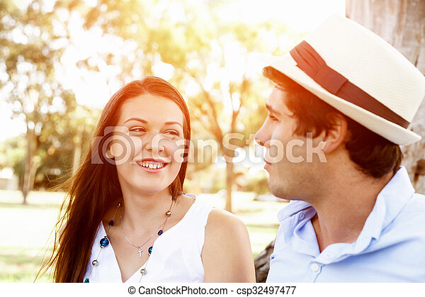 Young couple in the park - csp32497477