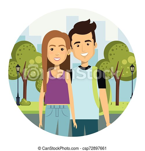 young couple in the street urban style - csp72897661