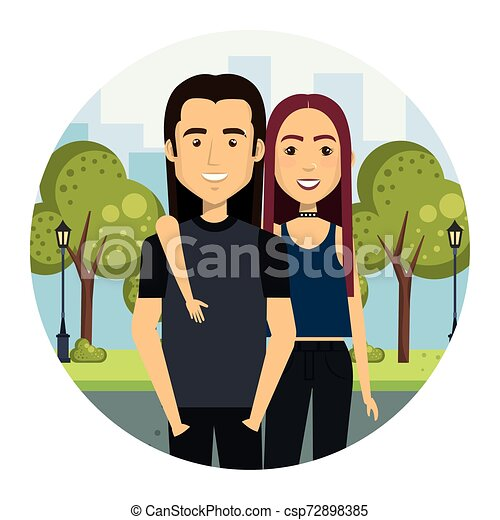 young couple in the street urban style - csp72898385