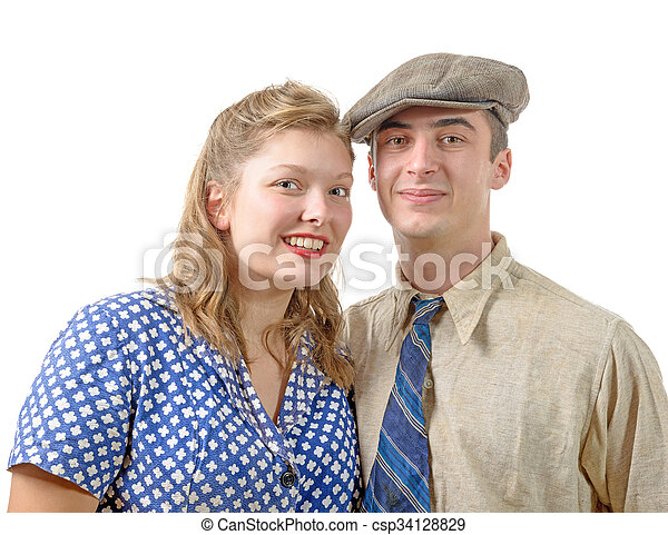young couple in vintage clothing, 40s - csp34128829
