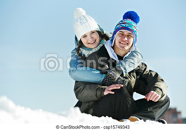 Young couple in winter - csp15749343